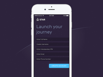 Sign Up - Space Travel And Recreation sign up minimal flat galaxy stars space iphone ios form register signup dailyui