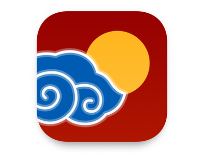 Weather App Icon - Chinese Style figma illustration chinese weather simple flat ios icon app app icon ui dailyui