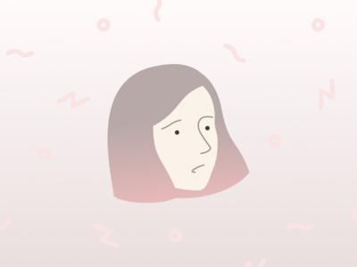 Pink Bob figma female girl woman head ombre gradient pink background pattern flat illustration