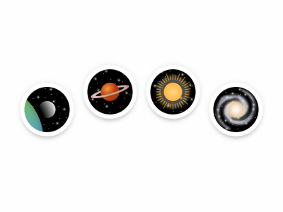 Astronomical Illustrations outer space 插画 badge space galaxy sun planet moon stars astronomy simple illustration