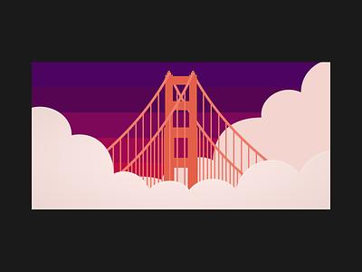 Golden Gate Sunset figma sanfrancisco fog sunset cinematic san francisco architecture golden gate bridge minimal illustration