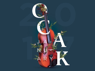 Calendar |January january violin typography calendar