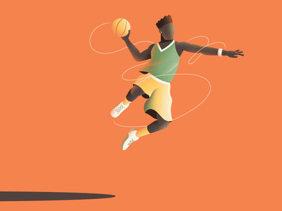 Ball ball jump character basketball illustration