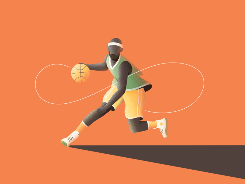 Crossover player crossover basketball character illustration
