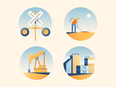 Infrastructure Rd 2 buildings gradient infrastructure construction illustration vector