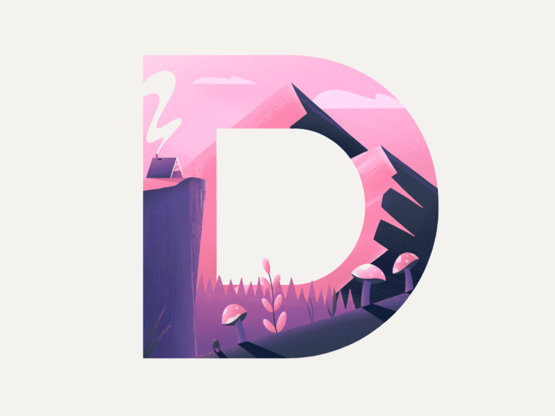D mountains type lettering nature texture procreate illustration