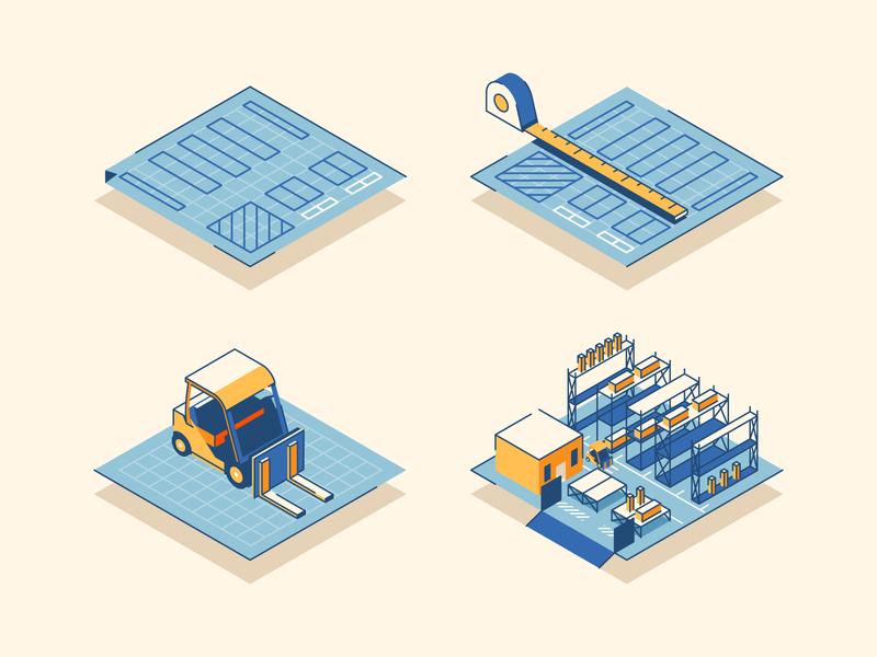 Warehouse Layout illustrator forklift layout warehouse construction isometric