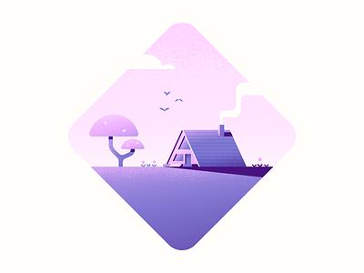 A Frame tree nature illustration cabin vector