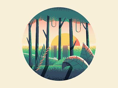 Jungle plants trees jungle nature illustration vector