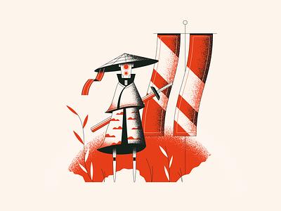 Robot Samurai robot sword samurai illustration vector