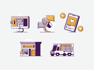 Small Business Ideas social media food truck ecommerce podcast small business illustration vector