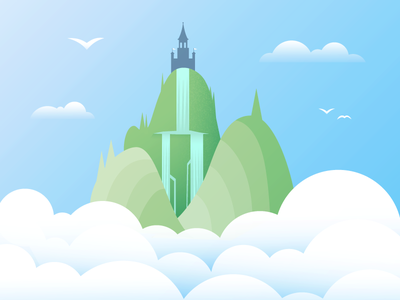 Castle in the Clouds clouds waterfall hills castle nature illustration vector