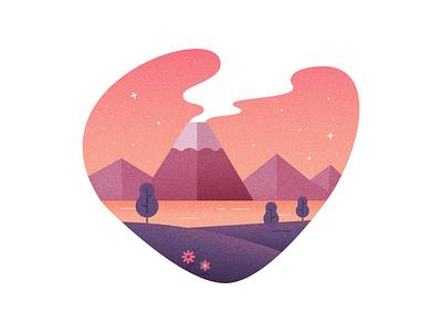 Volcano mountains trees volcano nature illustrator illustration vector