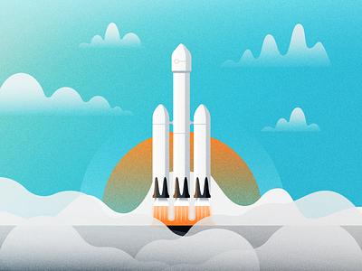 Falcon Heavy rocket man space falcon heavy space x rocket illustrator illustration vector
