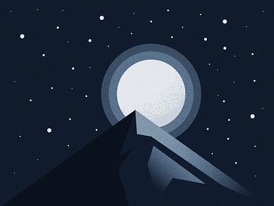 Moonlit Night mountain sky night moon illustrator illustration vector