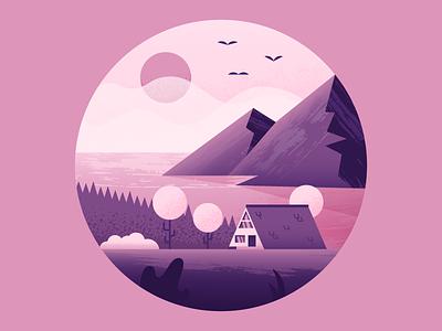Waterfront Cabin nature cabin illustrator illustration vector