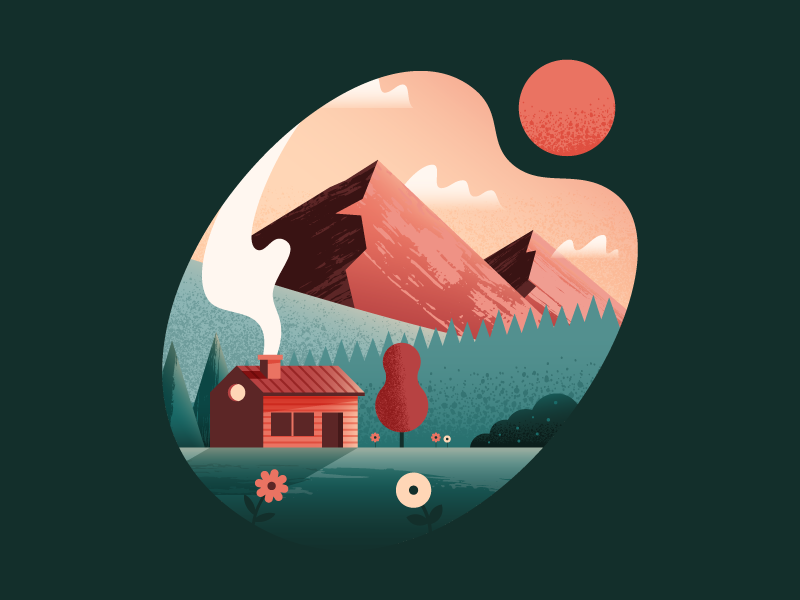 Cabin in the Mountains mountains landscape nature cabin illustrator illustration vector