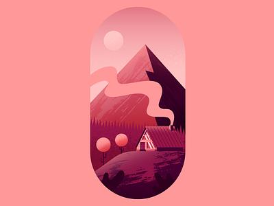 Smokey Cabin trees mountain landscape cabin nature illustrator illustration vector