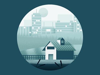 The Farm city landscape barn illustrator illustration vector