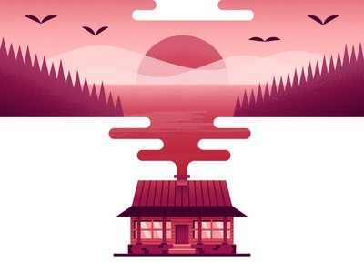 Smokey in the Middle water landscape smoke cabin illustrator illustration vector