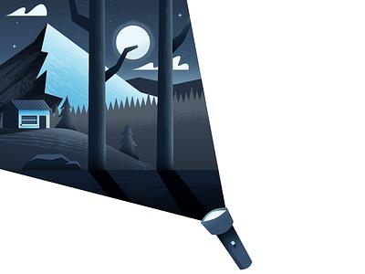 Flashlight landscape nature flashlight cabin illustrator illustration vector