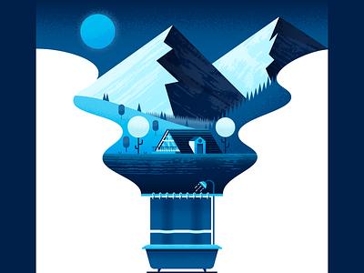 Shower Thoughts shower landscape nature illustrator illustration vector