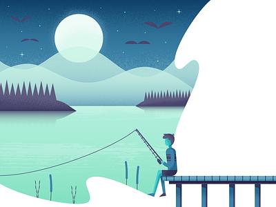 Cast a Line fishing landscape nature illustrator illustration vector