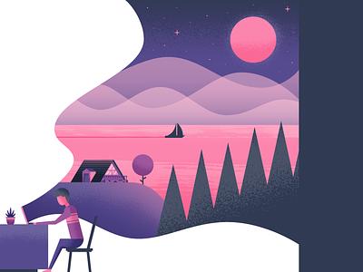 Browsing computer browsing landscape nature illustrator illustration vector