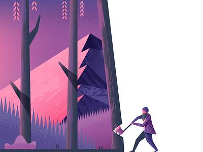 Timber axe timber lumberjack landscape nature illustrator illustration vector