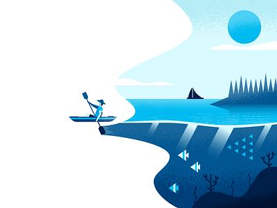 Kayak kayak landscape nature illustrator illustration vector