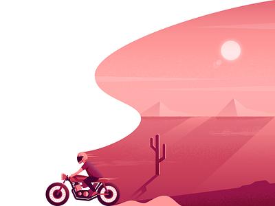 Route 66 motorcycle route 66 desert illustrator illustration vector