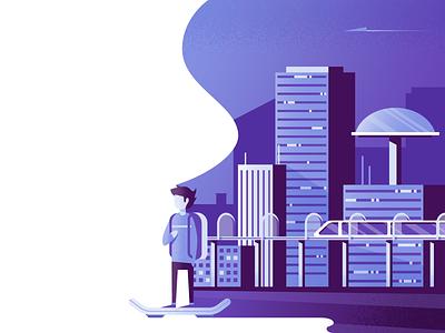 Hoverin' future hoverboard illustration illustrator vector