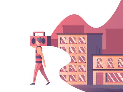 Boomin' music boombox city illustration illustrator vector
