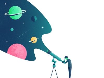 Great Unknown planets telescope space illustrator illustration vector
