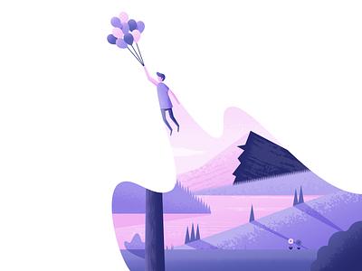 Up, Up & Away balloons nature illustrator illustration vector