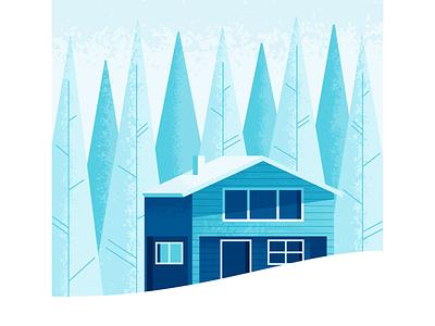 Winter Wonderland house snowed in nature cabin snow illustrator illustration vector