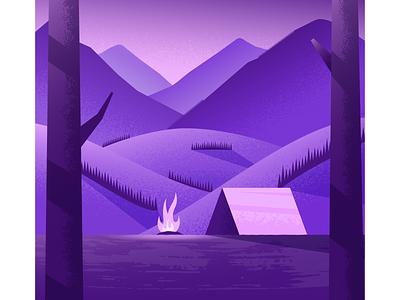 Fireside mountains nature tent illustrator illustration vector
