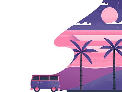 Cruisin' water van beach vw illustrator illustration vector