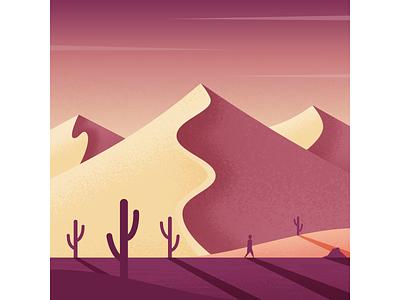 Wandering sand dunes wander desert illustrator illustration vector