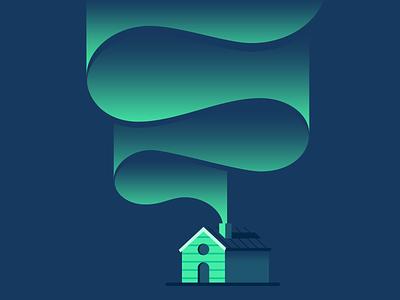 Aurora house night aurora illustrator illustration vector