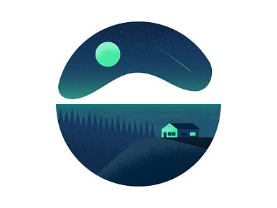 Nighttime moon cabin night illustrator illustration vector