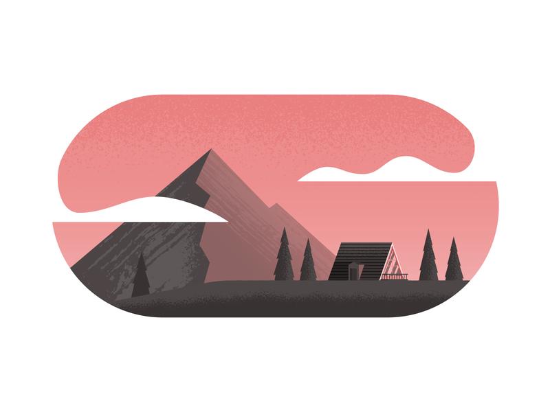 Little A-Frame nature a-frame mountain cabin illustrator illustration vector