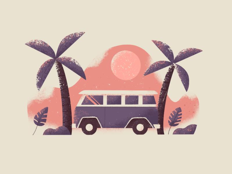 Vacation Vibes retrosupply van trees vibe vacation beach volkswagen illustration procreate