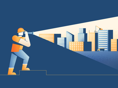 Finding Skilled Workers buildings worker search city construction illustration vector