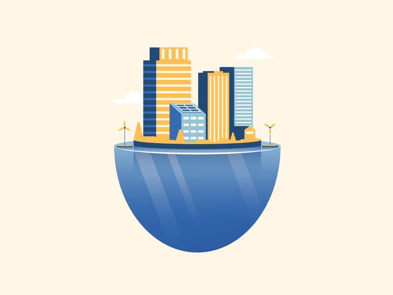 Floating City water floating city illustrator illustration vector