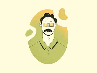 Stu moustache cuz im fancy mustache character procreate illustration