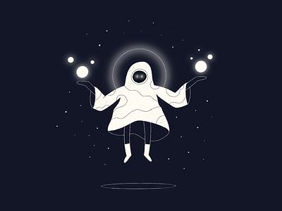 Magic character mysterious mage magic procreate illustration