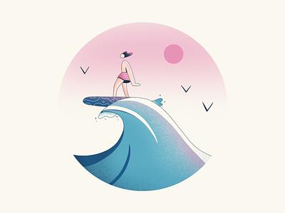 Summer Surfer wave water surf summer surfer procreate illustration