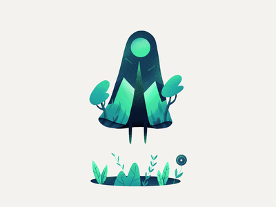 Mystic plants night character nature illustration procreate