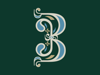 Letter B - Type Set serif script scroll ornate capital b typography type letter b